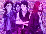 Beatles Mixed Media - Purple Beatles by Joan-Violet Stretch