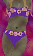 Kate Farrant - Purple Bikini Abstract Woman Painting