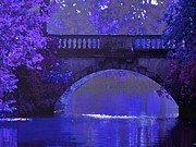 Maureen Digital Art - Purple Bridge in Evening Moonlight by Maureen Tillman