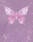 Purple Butterfly Floral Print by Alixandra Mullins