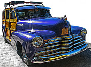 Sheats Posters - Purple Chevrolet Woody Poster by Samuel Sheats
