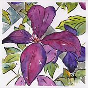 Trellis Paintings - Purple Clematis by Pat Katz