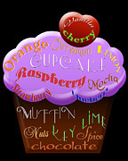 Cherry Art Mixed Media Prints - Purple Cupcake Typography Print by Andee Photography