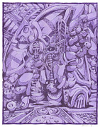 Robots Drawings Framed Prints - Purple Framed Print by Daniel Zaug