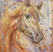 Horse Art Paintings - Purple Dawn Arabian by Silvana Gabudean