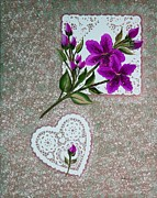 Doilies Prints - Purple Day Lilies and Doilies Print by Barbara Griffin