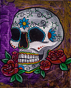 Lovejoy Posters - Purple Day of the Dead Skull Poster by Lovejoy Creations
