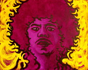 Jimi Hendrix Painting Originals - Purple Daze by Pete Maier