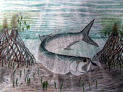 Tarpon Drawings Prints - Purple Demon Print by William Blackwell