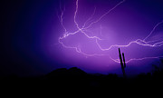 Arizona Lightning Prints - Purple Desert Skies  Print by Saija  Lehtonen