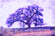 Arastradero Preserve Framed Prints - Purple Dreamtime Oak Tree Framed Print by Priya Ghose