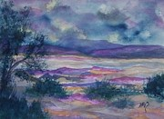 Badlands Painting Originals - Purple Dusk Settles on the Painted Desert by Ellen Levinson