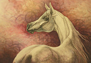 White Horse Prints - Purple Emotion Print by Silvana Gabudean