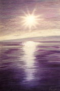 Print On Canvas Pastels Posters - Purple Evening Sun Poster by Dana Kern