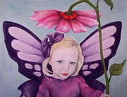 Flower Pink Fairy Child Posters - Purple Fairy Poster by Annie Seddon
