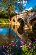 Landmark Pastels Prints - Purple flowers and Burnside Bridge reflecting in Antietam Creek at Antietam National Battlefield MD Print by Jon Bilous
