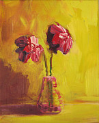 Living Artist Paintings - Purple Flowers by Patricia Awapara