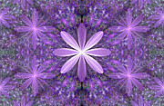 Fractal Designs Prints - Purple Flowers Print by Sandy Keeton