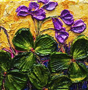 Paris Wyatt Llanso Prints - Purple Flowers Shamrocks Print by Paris Wyatt Llanso