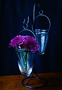 Glass Table Reflection Prints - Purple Flowers Still Life Print by Kerri Mortenson