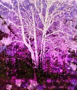 Autumn Landscape Mixed Media - Purple forest fantasy by Janine Riley