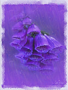 Foxglove Flowers Digital Art Prints - Purple Foxglove Pretty Little Bells Print by Carol F Austin