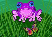 Frog Digital Art - Purple Frog and Rainbow Butterfly by Nick Gustafson
