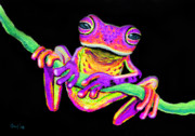 Whimsical Frogs Posters - Purple frog on a vine Poster by Nick Gustafson