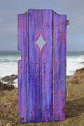 Mixed Media On Old Wooden Gate Posters - Purple Gateway to the Sea  Poster by Asha Carolyn Young
