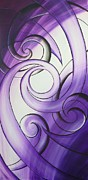 Buy Framed Prints Painting Acrylic Prints - Purple Glass Koru Acrylic Print by Reina Cottier