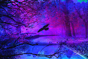Dark Purple Prints - Purple Gothic Haunting Nature - Surreal Fantasy Gothic Raven Forest Woodlands Print by Kathy Fornal