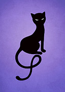 Boriana Giormova Prints - Purple Gracious Evil Black Cat Print by Boriana Giormova