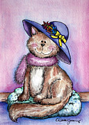 Pictures Of Cats Framed Prints - Purple Hat Cat Framed Print by Danise Abbott