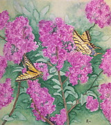 Blooms  Butterflies Painting Framed Prints - Purple Haze Cafe Framed Print by Rhonda Leonard