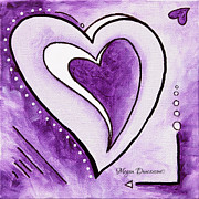 Unique Art Prints - Purple Heart Love Painting Pop Art Blessed by Megan Duncanson Print by Megan Duncanson