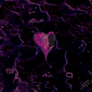 Wedding Digital Art Prints - Purple Heart Print by Stylianos Kleanthous