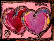 Harlow Painting Prints - Purple Hearts Print by Mark Kazav
