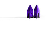 High Heeled Digital Art Posters - Purple High Heel Shoes Poster by Natalie Kinnear
