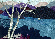 Birch Trees Tapestries - Textiles - Purple Hills by Jean Baardsen
