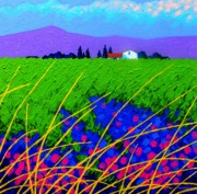 Landscape Greeting Cards Painting Framed Prints - Purple Hills Framed Print by John  Nolan