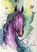 Purple Drawings Prints - Purple horse Print by Angel  Tarantella