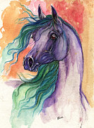 Drawing Painting Originals - Purple Horse With Green Mane 2013 11 15 by Angel  Tarantella