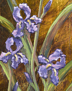 Drip Paintings - Purple Iris II with Gold Leaf by Vic  Mastis