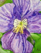 Johnny Jump Up Pansy Painting Posters - Purple Lavender Pansy Alone Poster by Anna Ruzsan