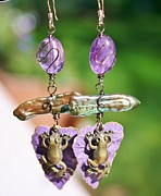 Frog Jewelry - Purple Lily Pad Landing Earings by Kelly Nicodemus-Miller