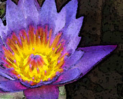 Lily Mixed Media Posters - Purple Lotus Flower - Zen Art Painting Poster by Sharon Cummings