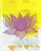 Bold Mixed Media Posters - Purple Lotus Poster by Linda Woods