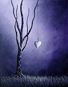 Abstract Heart Paintings - Purple Love by Shawna Erback by Shawna Erback