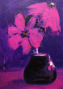 Pink Flower Prints Painting Posters - Purple Madness Poster by Patricia Awapara