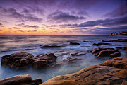 California Seascape Prints - Purple Majesty No Mountain Print by Peter Tellone